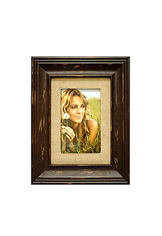 New View Antique Elegance Espresso Burlap 4x6 Frame