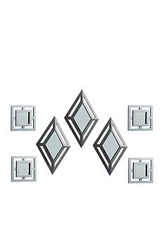 Elements Set of 7 Silver Diamond and Square Mirrors