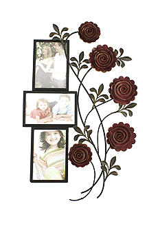 Fetco Home Decor Floral Metal 3 Opening 4x6 Collage
