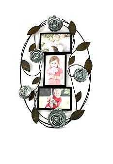 Fetco Home Decor Floral Metal 4x6 Oval Collage