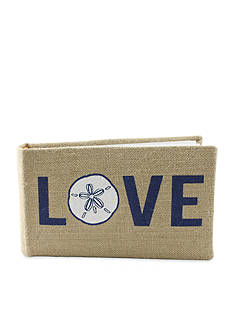 Fetco Home Decor Love Beach Burlap Sand Dollar 1-Up Photo Album