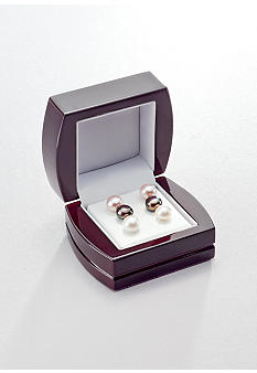 Belk & Co. Sterling Silver Freshwater Pearl 3 Pair Multi Earring Set