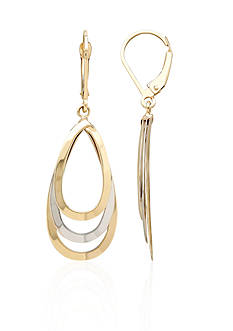 Belk & Co. 14k Two-Tone Gold Teardrop Earrings