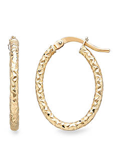 Belk & Co. 14k Yellow Gold Oval Hoop Earrings