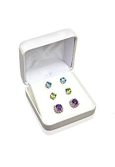 Belk & Co. Multi Stone 3-Piece Earring Set with Interchangeable Jacket in Sterling Silver