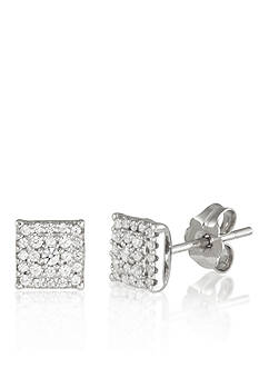 Belk & Co. Diamond Square Earrings in 10k White Gold