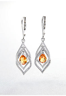 Belk & Co. Sterling Silver Citrine and Diamond Double Loop Leverback Earrings