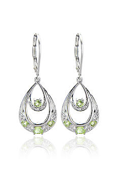 Belk & Co. Sterling Silver Peridot and Diamond Teardrop Leverback Earrings