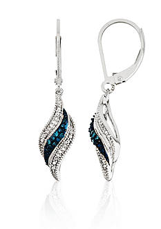 Belk & Co. White and Blue Diamonds Swirl Lever Backs Earrings in Sterling Silver