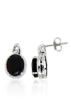 Belk & Co. Onyx & Diamond Earrings Set in Sterling Silver