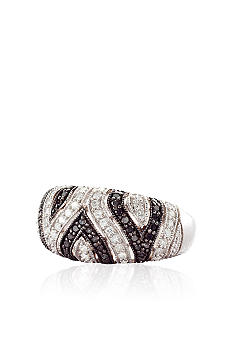 Belk & Co. Black and White Diamond Ring in Sterling Silver