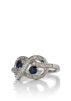 Belk & Co. Sterling Silver Sapphire and Diamond Ring