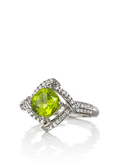 Belk & Co. STERLING SILVER CUSHION CUT PERIDOT WITH DIAMOND RING SIZE 6