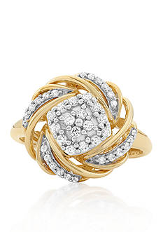 Belk & Co. Diamond Love Knot Ring in 10k Yellow Gold