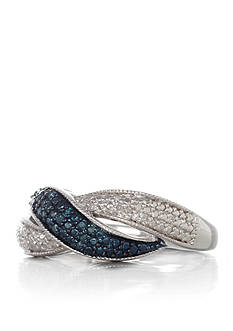 Belk & Co. Blue and White Diamond Band in Sterling Silver