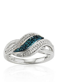 Belk & Co. White and Blue Diamonds Swirl Ring in Sterling Silver
