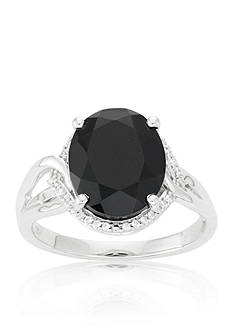 Belk & Co. Black Onyx and Diamond Ring in Sterling Silver