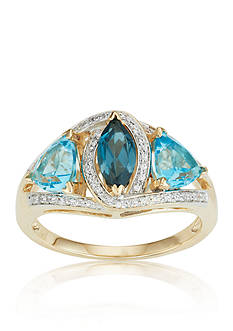 Belk & Co. London Blue Topaz, Swiss Blue Topaz, and Diamond Ring in 10k Yellow Gold