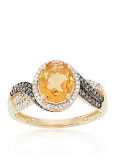 Belk & Co. Citrine, Champagne Diamond, and White Diamond Ring in 10k Yellow Gold