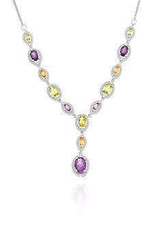 Belk & Co. Diamond, Amethyst, Peridot, and Citirine Necklace in Sterling Silver