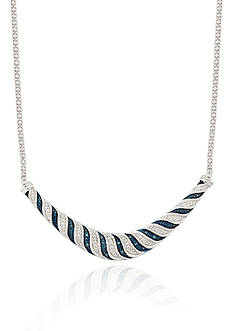 Belk & Co. Blue and White Diamond Necklace in Sterling Silver