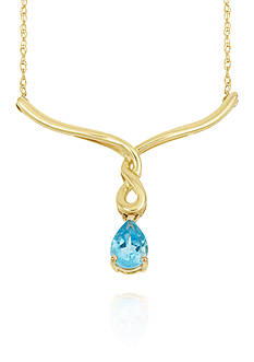 Belk & Co. Blue Topaz Necklace in 10k Yellow Gold