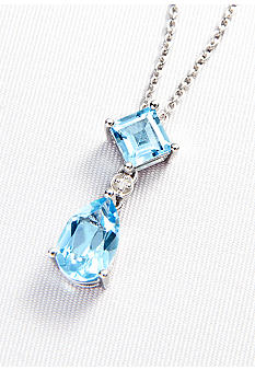 Belk & Co. Sterling Silver Blue Topaz & Diamond Dangle Pendant