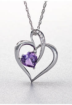 Belk & Co. Sterling Silver Amethyst Heart with Diamond Accent Pendant with Chain