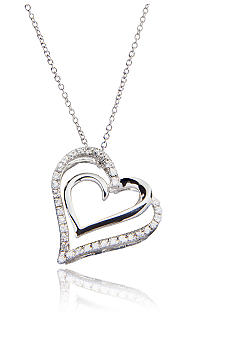 Belk & Co. Diamond Double Heart Pendant in Sterling Silver