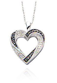 Belk & Co. Black and White Diamond Heart Pendant in Sterling Silver