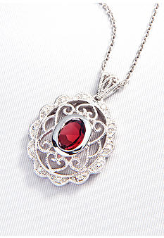 Belk & Co. Sterling Silver Garnet and Diamond Pendant
