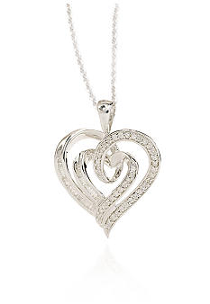 Belk & Co. Round Baguette Diamond Heart Pendant in Sterling Silver