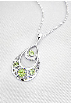 Belk & Co. Sterling Silver Peridot & Diamond Teardrop Pendant