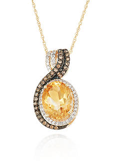 Belk & Co. Citrine, Champagne Diamond, and White Diamond Pendant in 10k Yellow Gold