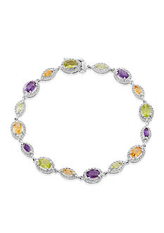 Belk & Co. Diamond, Amethyst, Peridot, and Citrine Bracelet in Sterling Silver