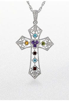 Belk & Co. Sterling Silver Art Deco Style Semi Precious and Diamond Cross Pendant