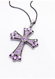 Belk & Co. Sterling Silver and Amethyst Cross Pendant
