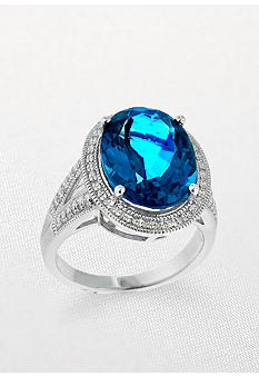 Belk & Co. Sterling Silver Art Deco Style Blue Topaz and Diamond Ring