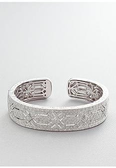 Diamond Cuff Bangle in Sterling Silver