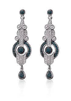 Belk & Co. Diamond & Treated Blue Diamond Vintage Drop set in Sterling Silver Earrings