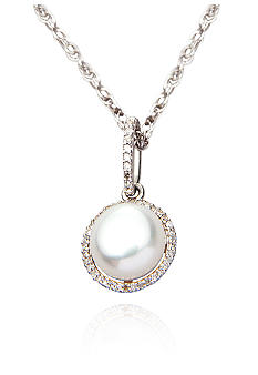 Belk & Co. Sterling Silver Freshwater Pearl and Diamond Pendant