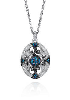 Belk & Co. Blue Diamond Pendant in Sterling Silver