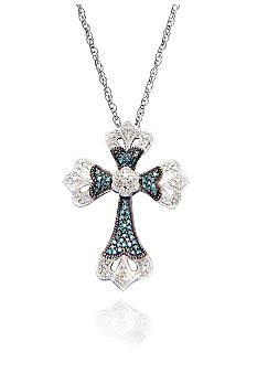 Belk & Co. 3/8 ct. t.w. Blue and White Diamond Cross Pendant in Sterling Silver