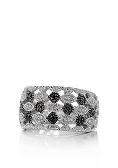 Belk & Co. White and Black Diamond Band in Sterling Silver