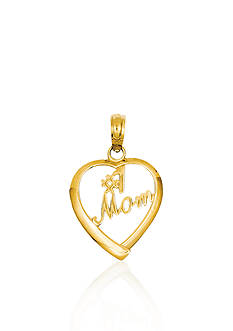 Belk & Co. 14k Yellow Gold #1 Mom Heart Charm