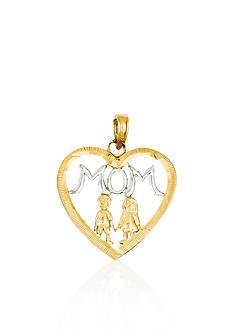 Belk & Co. 14k Yellow Gold Mom with Children Heart Charm