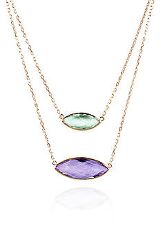 Belk & Co. Green and Purple Amethyst Necklace in 14k Yellow Gold