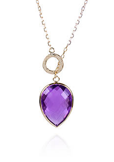 Belk & Co. Amethyst Pear Drop Pendant in 14k Yellow Gold