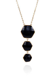 Belk & Co. Onyx Double Sided Pendant in 14k Yellow Gold
