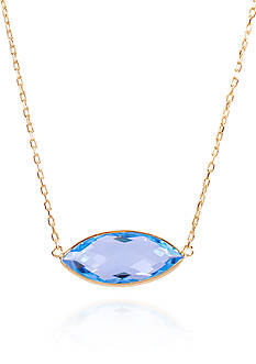 Belk & Co. Blue Topaz Pendant in 14k Yellow Gold